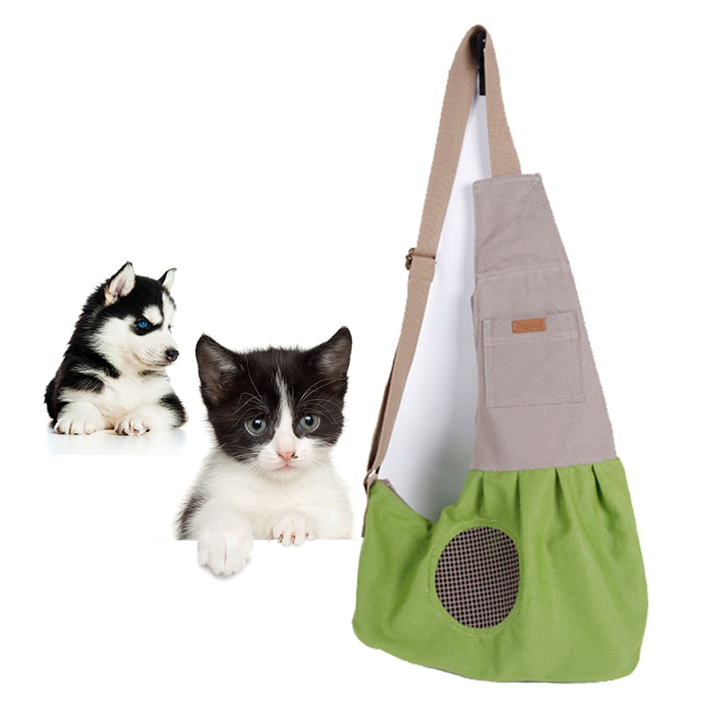 NACOCO Pet Sling Carrier Cat Dog Shoulder Carriers Breathable 100% Cotton Travel Tote Puppy Sling Bag