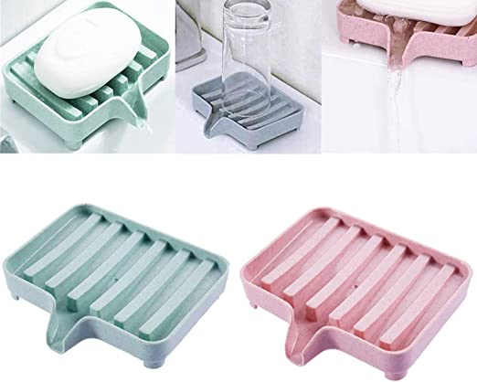 2 Pack Soap Dishes Holder Silicone Plate Tray Drain Bathroom  Soapbox saver Bag