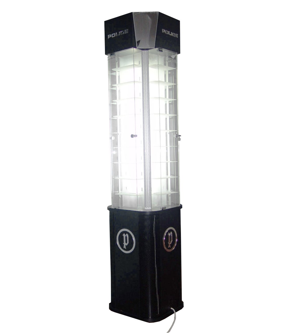 FixtureDisplays Deluxe Eyeglass Display w/ Mirrors & Lights Illuminating, Floor Standing, Holds 36 Pairs - Black 2397-NPF