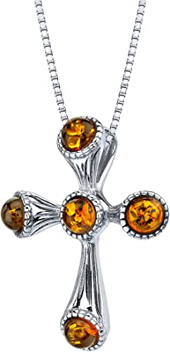 """Solid 925 Sterling Silver Baltic Cognac Amber Cross Pendant Necklace 18/"""" box."""