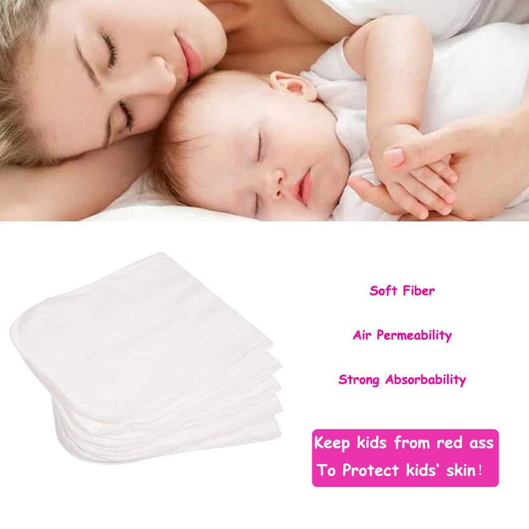 Yeelan 10PCS Baby Cloth Windel Liner Waschbar Wiederverwendbare Superfeine Faser Windelunterlage Einstecktaschenwindeln f/ür Kleinkinder und Erwachsene Wei/ß, 35 * 13,5 cm // 13,8 * 5,3 Zoll