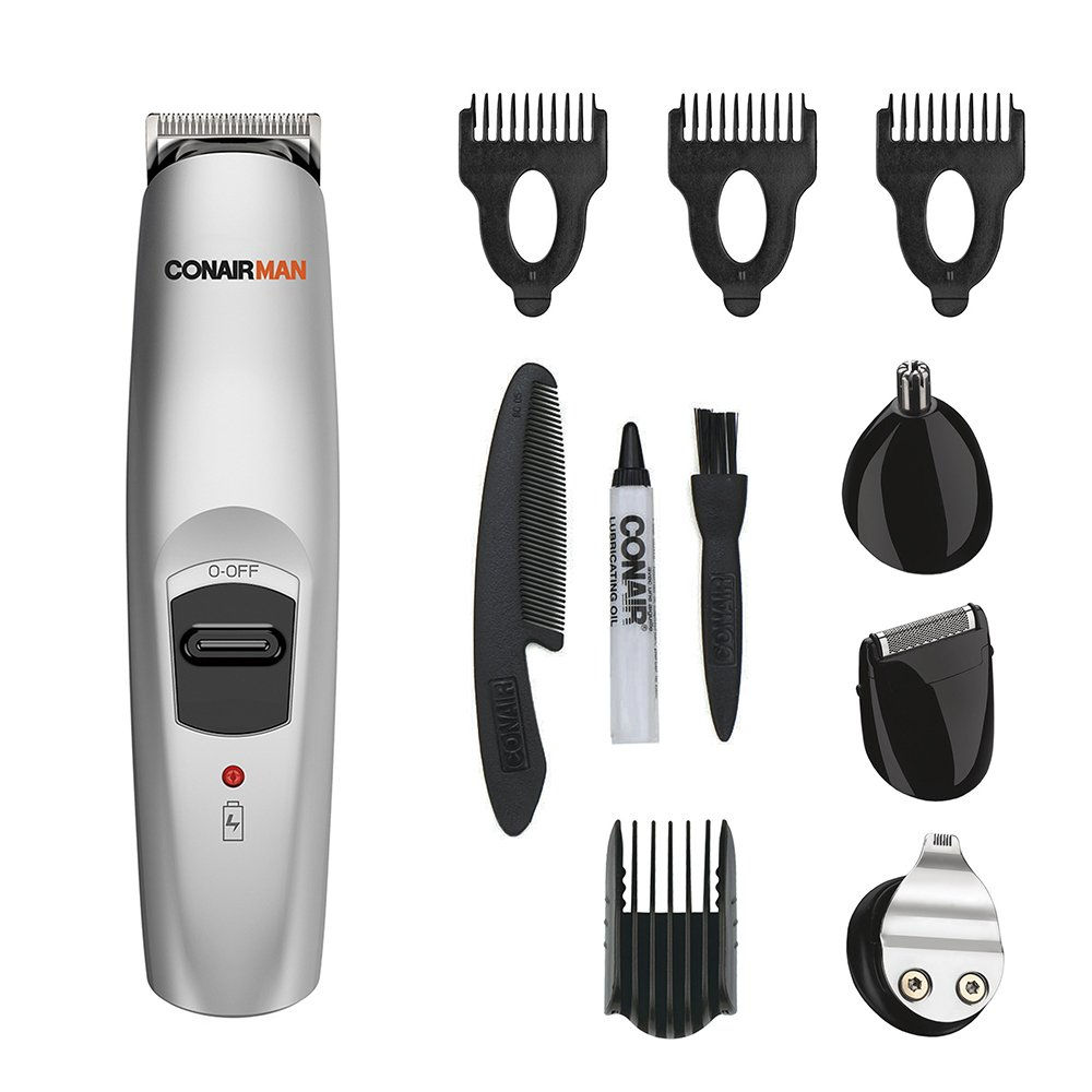 Conair Man All-in-1 Trimmer; Beard and Mustache Trimming System with Self-Sharpening Stainless Steel Blades; Rechargeable (packaging may vary)