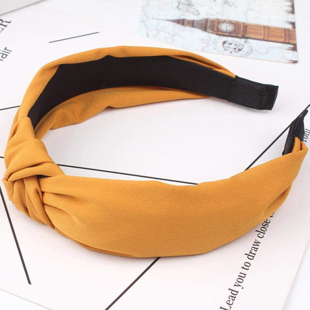 WYL Bow Knot Hairband Soft Cotton Comfortable Sweet Simple Girls Cloth Cross Solid Headband,A