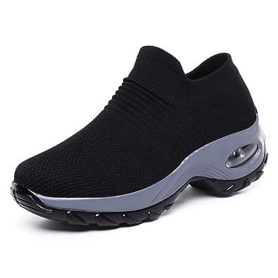 Sneakers Breathable Mesh Walking Slip-On Ladies Sport Air Cushion Walking Shoes