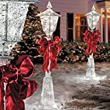 Set of 3 Outdoor Christmas Victorian Lamp Post Sculpture Holiday Yard Lawn Decoration