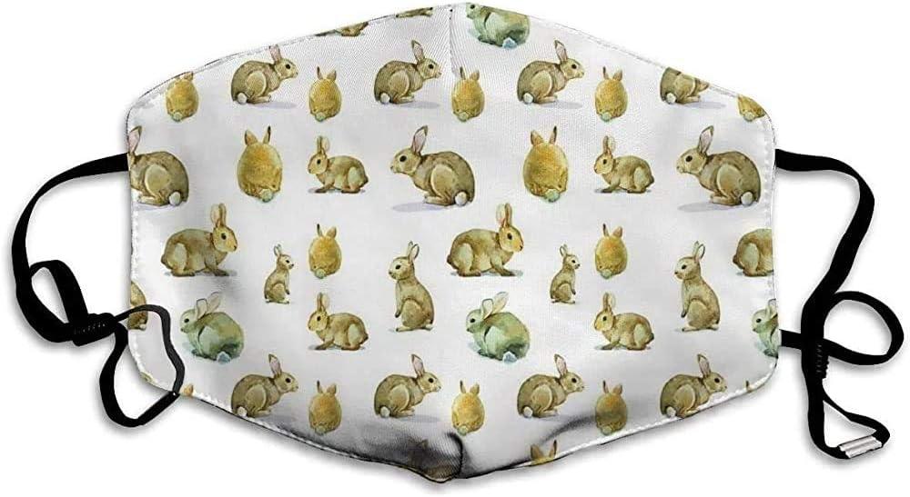 Lindo Conejo de Conejito Peludo Patrón Pascua Animales Máscara de Boca Mascotas esponjosas Máscara de Boca Reutilizable al Aire Libre