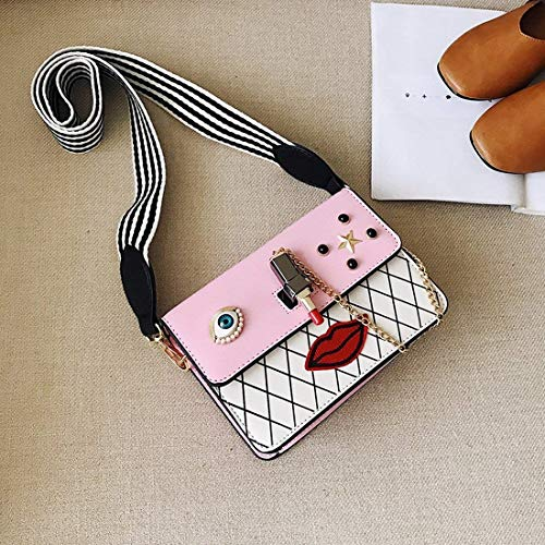 Taille coloré Sac Sac à Blanc Petit Rose carré à Sac Moontang Mesdames bandoulière Unique Petit Messenger Paquet Main Boucle ZO5T4qw