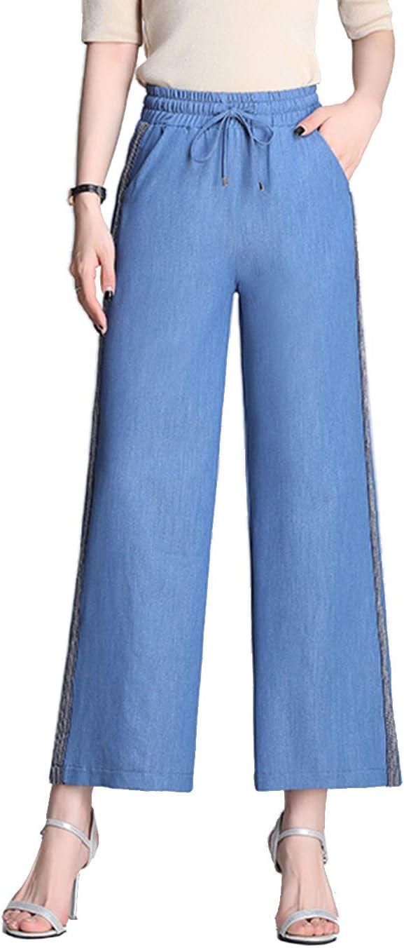 Locachy Women's Wide Leg Cropped Pants Drawstring Elastic Waist Tencel Jeans Palazzo Pants