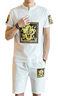 Spirio Mens Shirt 2 Piece Outfits Beach Short Sleeve Flower Print Shorts Tracksuit