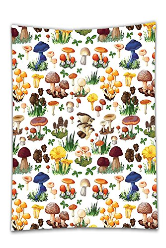 Interestlee Satin drill Tablecloth?Mushroom Decor Pattern with Types of Mushrooms Wild Species Organic Natural Food from Nature Garden Theme Multi Dining Room Kitchen Rectangular Table Cover Home Deco (Cloth Table Octagon)
