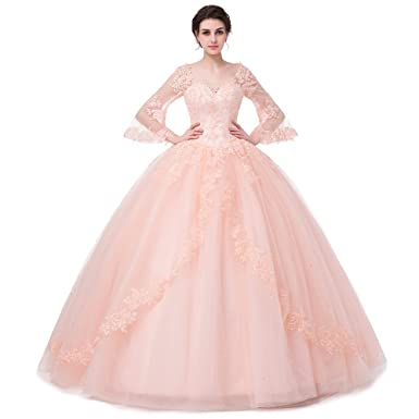 SHDRESS Long Sleeve Lace Quinceanera Dresses Formal Prom Dresses Ball Gown (8, pink)
