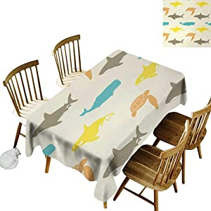 Rectangular Tablecloth W54 x L90 Sea Animals Pattern with Whale Shark and Turtle Aquarium Doodle Style Marine Life Ivory Taupe Peach Great for Family Outdoors Restaurant Party Wedding Coffee Bar tra