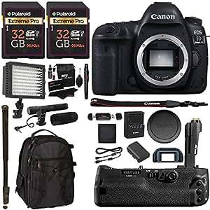 "Canon EOS 5D Mark IV DSLR Camera Body + 5D IV Camera Grip + 32GB U3 95MBs Memory-2 Pack + Microphone + Polaroid 160 LED Video Light + 72"" Monopod + SLR Backpack Accessory Bundle"