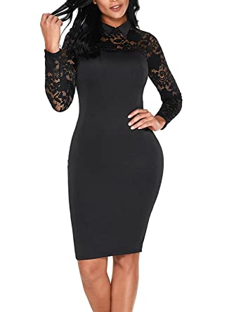 Elapsy Womens Sexy Black Lace Long Sleeve Doll Collar Bodycon Evening Party Midi  Dress Black Small 5cc740813e