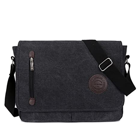 de84b3c98 Amazon.com: Rukisac Vintage Canvas Satchel Messenger Bag Laptop Bag Travel  Shoulder Bag Business Cross Body Bag for Traveling Camping Work College ...