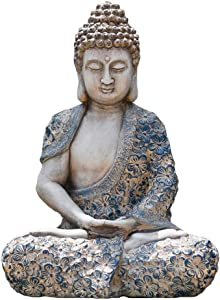 NYKK A Beautiful Meditation Gift Meditating Buddha Statue - Outdoor Decor for Garden, Patio, Deck, Porch - Yard Art Decoration Sculpture Decoration