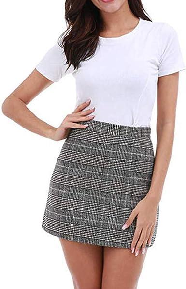 Sylar Faldas Mujer Cortas Verano Mini Falda Casual con ...