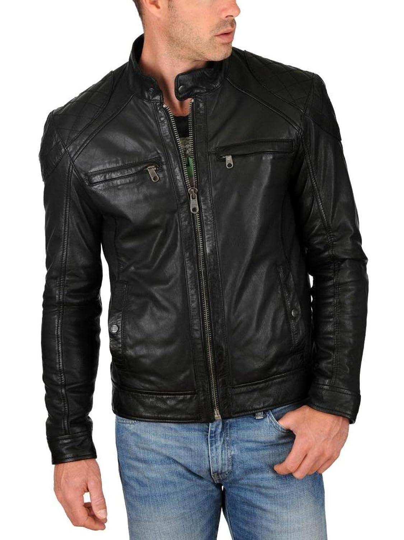 ABDys Men's Lambskin Leather jacket DKC764 Black