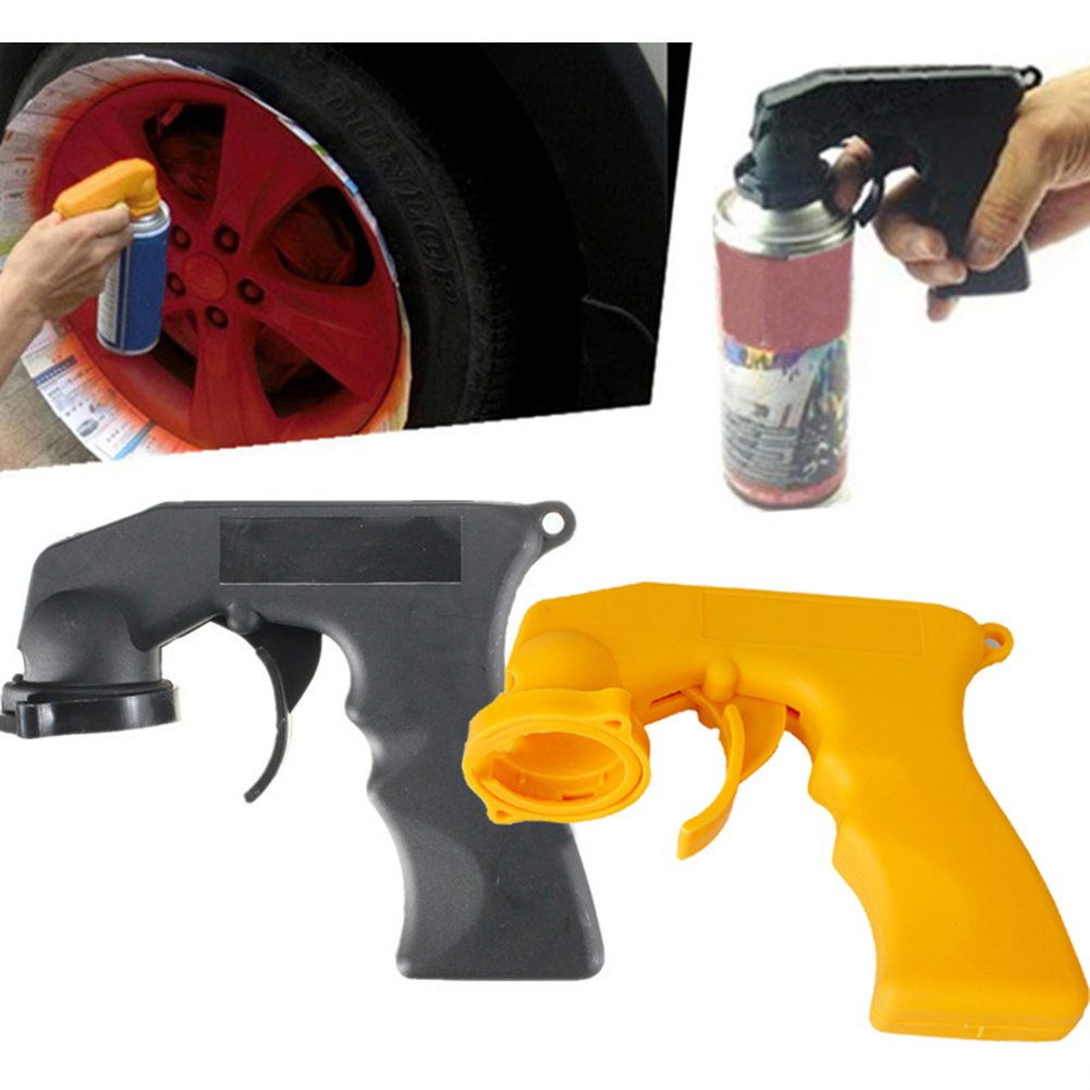 Can Spray Handle, Pack of 2 Can Spray Tool Aerosol Spray Handle with Full Grip Trigger for Painting (Black+Yellow) Estink
