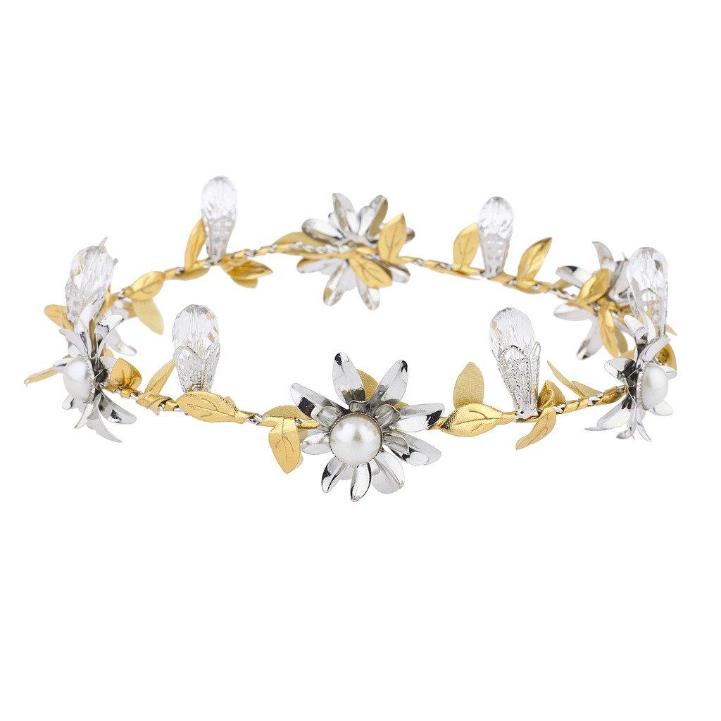 Lux Accessoires Doré Argenté occasion spéciale de mariage Coachella Couronne de fleurs H57875-1-H909