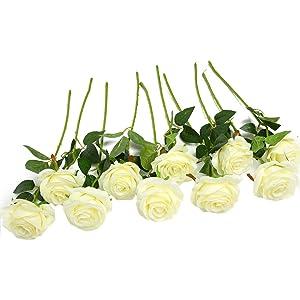 Ramo de rosas artificiales de seda Justoyou para arreglos florales para el hogar, la oficina