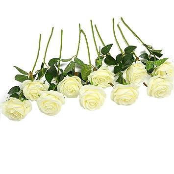 Amazon De Justoyou 10 Pack Seide Kunstliche Rose Blumen