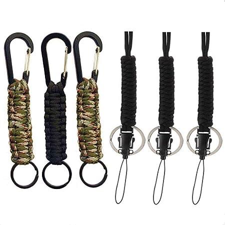 Powerer - Llavero de supervivencia de grado militar, 6 unidades, cuerda de cuerda de supervivencia con mosquetón y cordón trenzado militar, con gancho ...