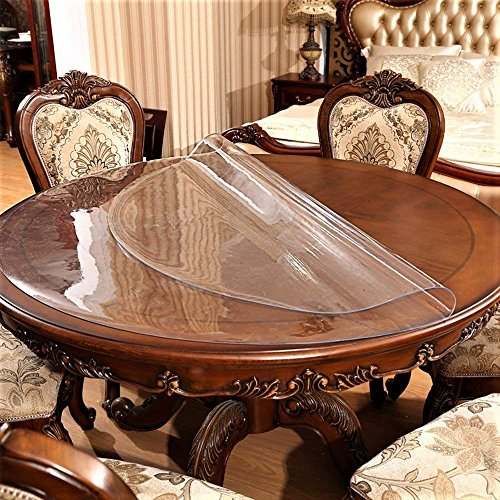 Round Table Cover Bedside Sofa Bed Side Dining Coffee End Tabletop Cloth Protector Clear Plastic Tablecloth Vinyl PVC Wipeable Water Resistant Desk Furniture Protective Pad Easy Clean 30 Inch Diameter by IceFire (Image #2)