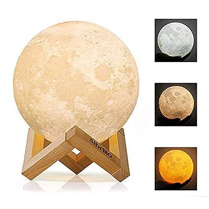 Amazon Com Wdj 3d Print Moon Lamp 3 Colors Led Moon Light With