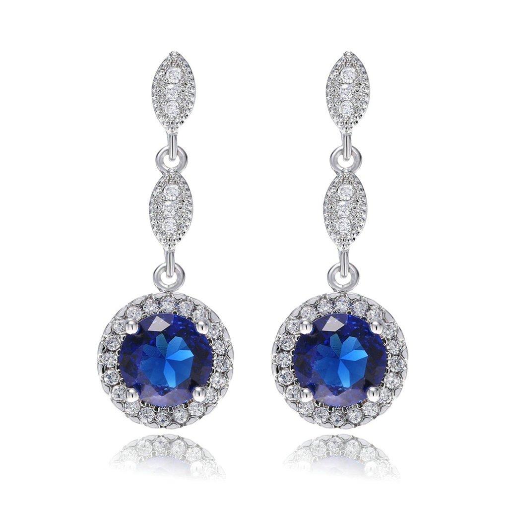Epinki Femme Plaqué Or Blanc Boucles d'oreilles Pendantes Saphir Bleu Cristal CZ Zircon Bleu