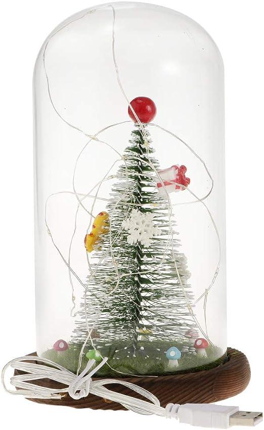 LOVIVER Árbol De Navidad Cristal Claro Cloche Cúpula Pantalla ...