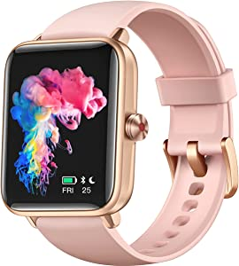 Smart Watch, Dirrelo Smart Watches for Women Android Phones & iPhone Compatible, 1.55 Inch Touch Screen, Fitness Tracker with Heart Rate & Sleep Monitor & Blood Oxygen Saturation, 5ATM Waterproof Pink