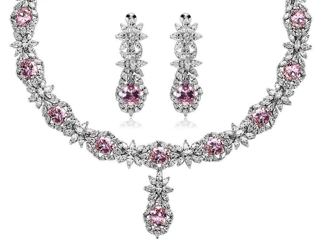 Epinki Silver Plated Jewelry Set, Cubic Zirconia Flower Crystal Pink Earring Necklace Sets For Women