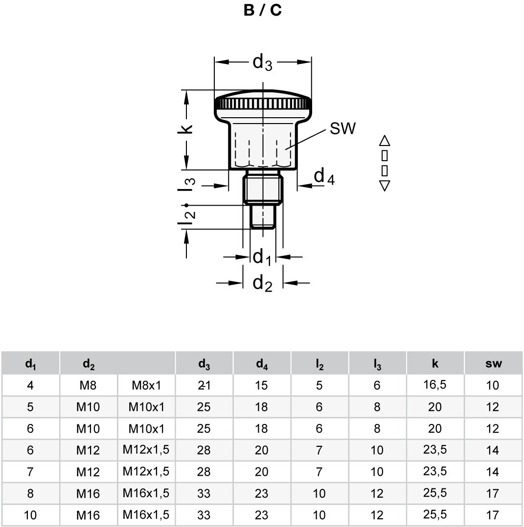 GN 822.6-6-M10X1-B| Form B: ohne Rastsperre blau passiviert 2 St/ück Rastbolzen l Kleine Ausf/ührung Stahl verzinkt Ganter Normelemente