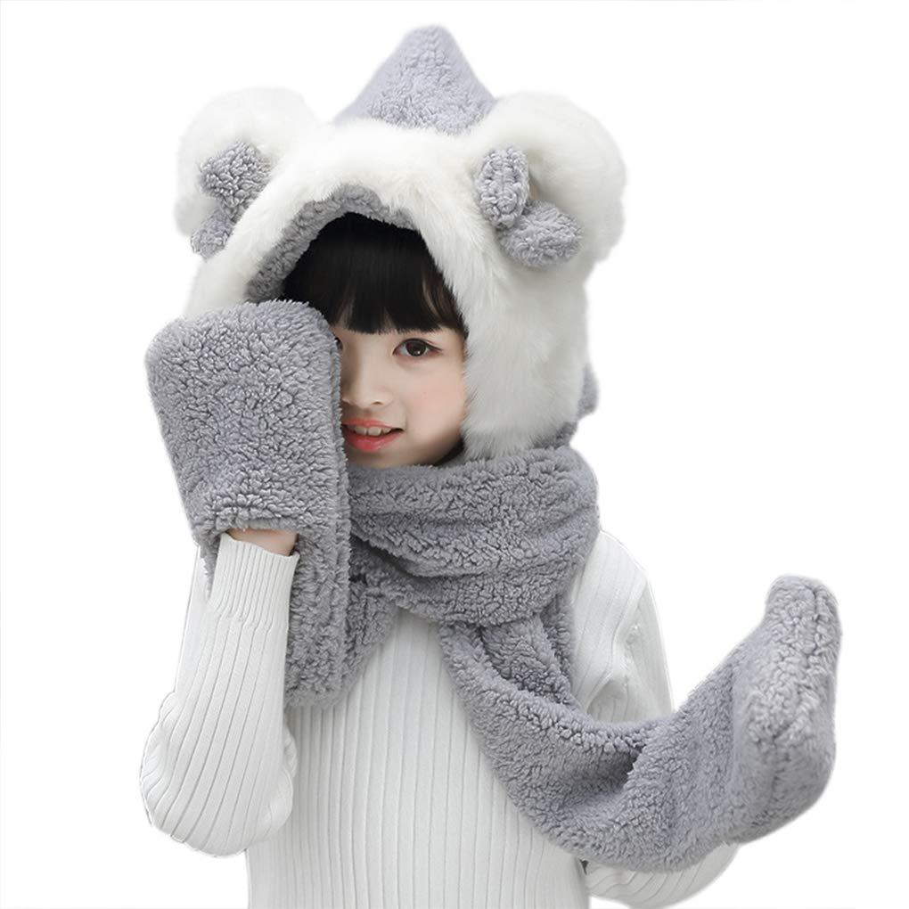 Kids Toddler Cartoon Fleece Hat Gloves Scarf 3 In 1 Set Winter Warm Plush Hoodie Earflap Hat Snood Wraps Plush Scarf Gloves Xmas Gift
