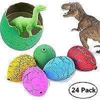 Jofan 24pcs Novelty Magic Large Size Crack Easter Dinosaur Eggs Hatching Toy with Mini Toy Dinosaur Figures Inside for Kids Stocking Stuffers