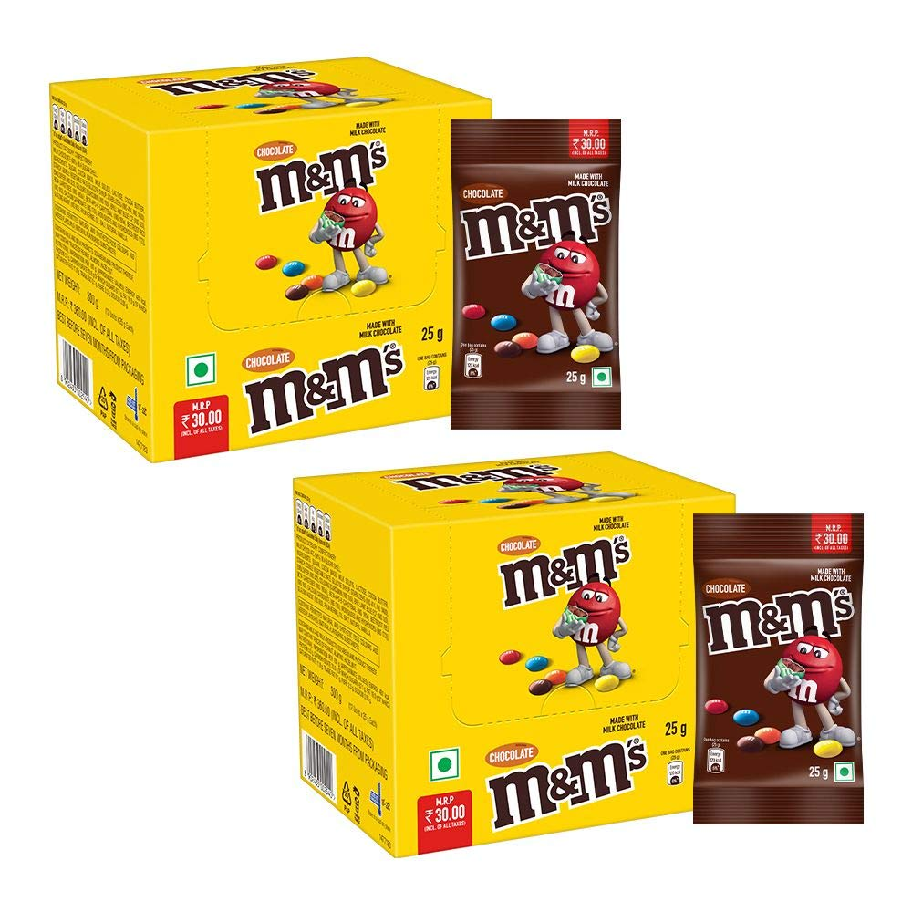 M&M's Milk Chocolate Candies- 25gX 12 Pouches (Pack of 2)