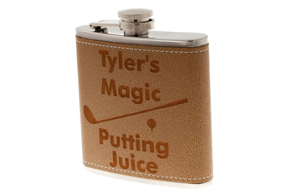 """B01LXGOVVS Personalized Golfer Flask """"Magic Putting Juice"""", Leather Flask, Fathers Day Gift, Custom Engraved Golf Flask, Birthday Present, Retirement, Christmas 6163NIHrMgL"""