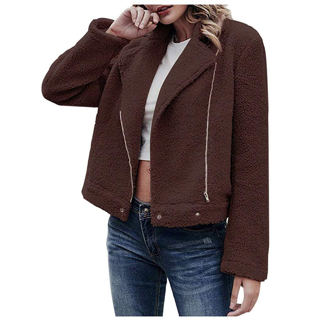 perfectCOCO Women's Coat Casual Lapel Fleece Coats Zipper Winter Warm Outwear Jackets Blazer Cardigan Coffee by perfectCOCO