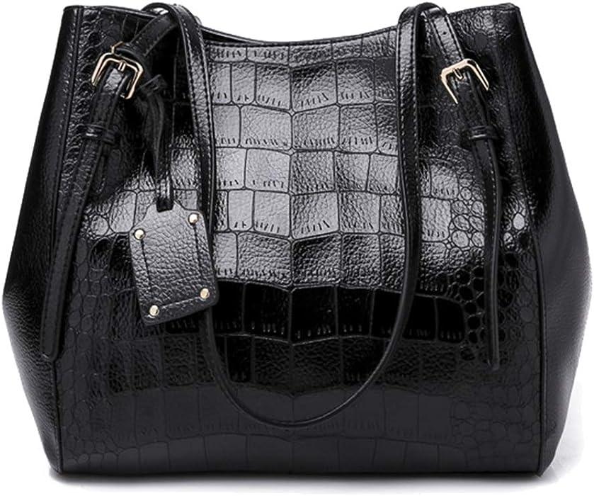 7c7351592260 Amazon.com: Women Bag Solid Color Handbag Crocodile Pattern Tote Bag ...