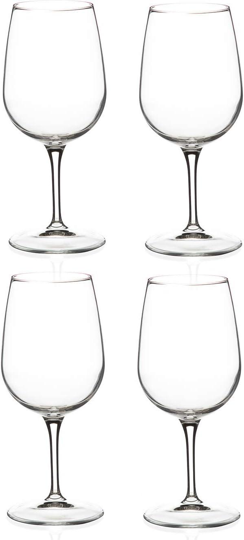 Bormioli Rocco Spazio Medium Wine Glass, 14 1/4 Ounce, Set of 4 Glassware Set, Clear