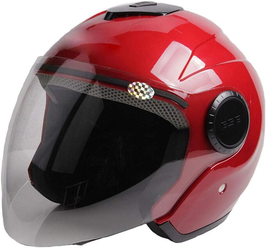 ZML 電気自動車ヘルメットバイク冬暖かい冬のヘルメット男性と女性の半分のヘルメットのハード帽子レトロカップルハーレーフルフェイスヘルメットハーフカバーヘルメット (色 : 赤) 赤