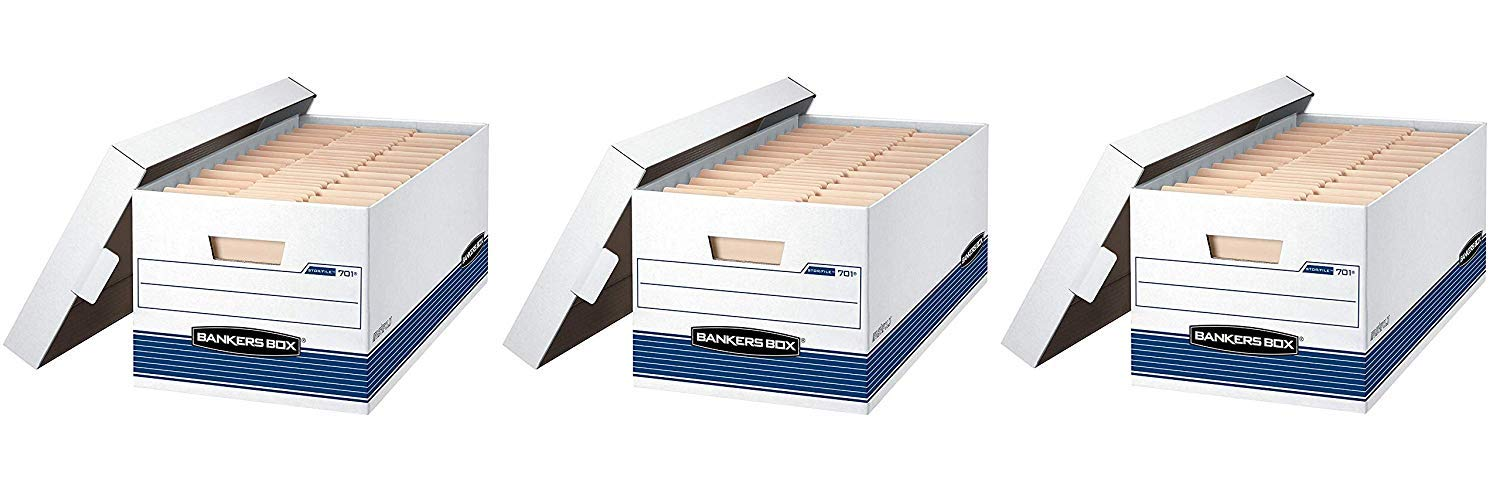 Bankers Box STOR/File Medium-Duty Storage Boxes, FastFold, Lift-Off Lid, Letter (3 X Pack of 4)