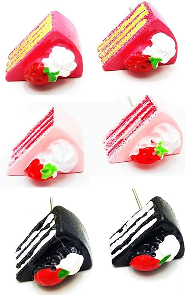 Cute Food Imitate Hamburger Banana Donut Ice Cream Dangle Stud Earrings Resin for Women Girls Jewelry