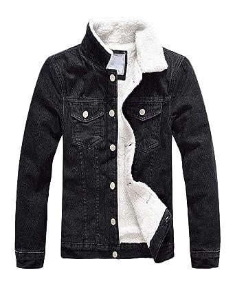 0bf26749ba812 DSDZ Mens Classic Winter Fur Fleece Lined Trucker Jean Denim Jacket US  S(Tag XL