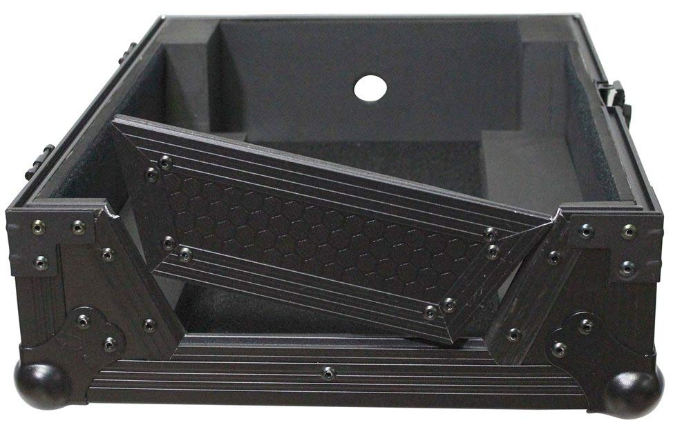 ProX XS-M12BL Black on Black Mixer Flight Case For 12'' Mixers (Large Format) With Cable Access Hole and Heavy Duty Wheels