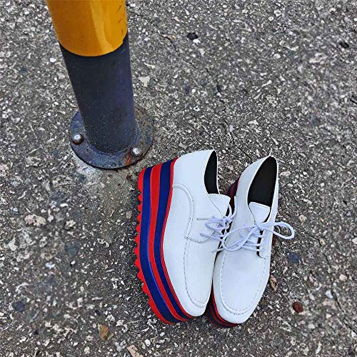 Flamenco Betis Marque Casual Derby Semelle Chaussures Alikeey Femmes Mode tudiant Andres Oxford Augmenter Blanco Lacets BxzB8q07w