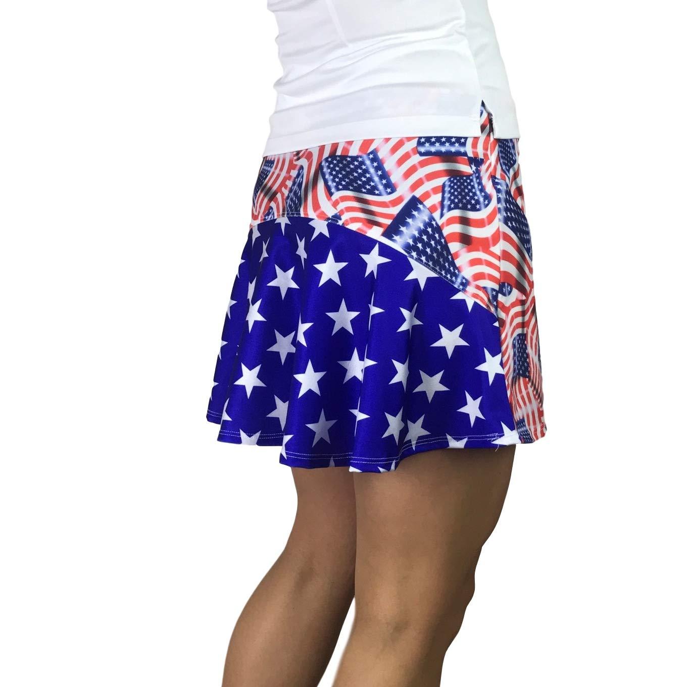 Smash Dandy American Flag Flutter Style Golf/Tennis Skort/Skirt (XSmall) by Smash Dandy
