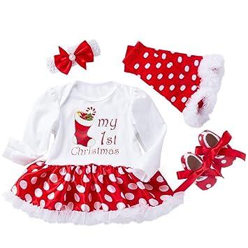 Baby 4pcs Christmas Outfit Infant Girls Xmas Costume 1st Christmas Romper  Dress Headband Leggings Pants Shoes - Amazon.com: Baby 4pcs Christmas Outfit Infant Girls Xmas Costume 1st