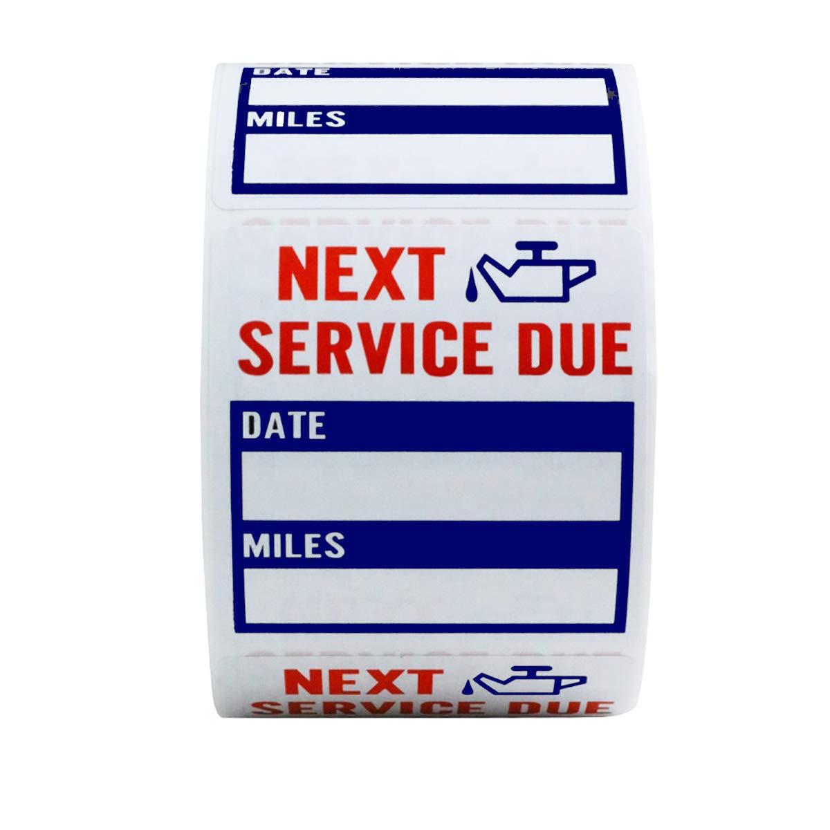 Oil Change Service Reminder, Window Sticker, 100 Count , Color Choice Blue